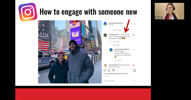 Business Networking on Instagram - Beginner Online Course - Presentation example - How to engage with someone new